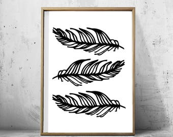 Feathers Print, Feathers Wall art, Feather Poster Large Printable art Tribal Decor Boho Minimalist Poster Black and White Print Scandinavian