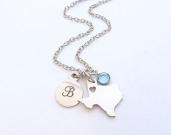 Texas State Necklace, Personalized Texas gift, State Jewelry, State Necklace, Texas Jewelry, Texas Pendant, Deep in the heart of Texas