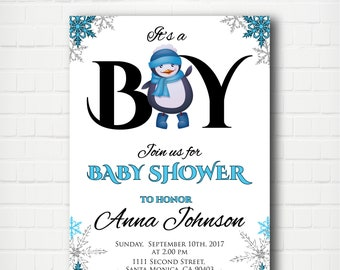 Baby Boy Shower Invitation,  Penguin Baby Shower, Winter It's a Boy Baby Shower Invite
