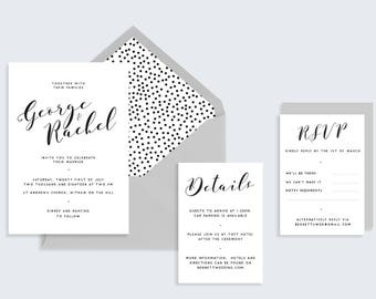 Simple Printable Wedding Stationary | Calligraphy Wedding Invite