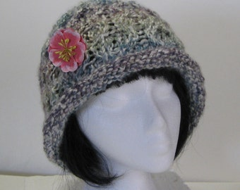 Rolled Brim Tudor Colors Hand Knit Bucket Hat With Flower