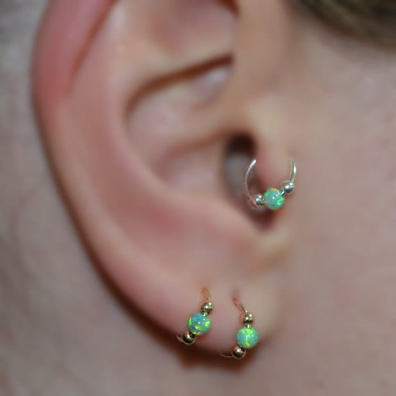 Green opal tragus earring gold tragus hoop cartilage for Helix piercing jewelry canada