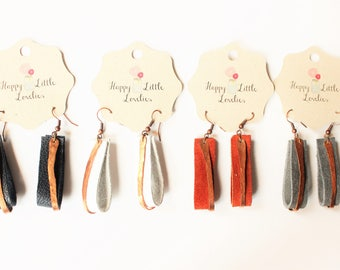 Navy leather and copper earrings, leather bar earrings copper bar earrings, copper earrings