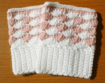 Crochet Boot Cuffs: White and Pink