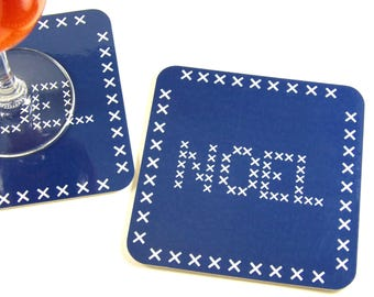 Table decoration Christmas coaster underneath glass Christmas embroidered blue