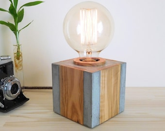 Concrete and wood table lamp nightstand edison dimmable lamp, handcrafted bedside beton lamp, concrete light mens home decor concrete gift
