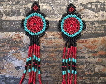 Red and Turquoise seed bead Huichol earrings