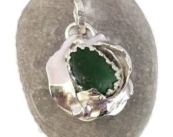 Green Sea Glass Pendant Hand Forged with Sterling Silver, English Beach Glass Necklace, Gift for Wife, Secret Santa