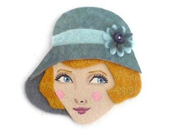 SALE - 1920s Girl Fabric Brooch, Felt Brooch, Art Brooch, Wearable Art Jewelry, Mother's Day Gift