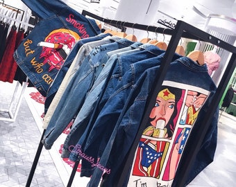 CUSTOM Hand Painted Denim Jacket 5SynKuMAAI