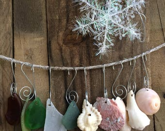 NATURAL ELEMENTS...10 sea glass and shell ornaments - wind chime craft - tree Christmas holiday wedding home decor-beach cottage sun catcher