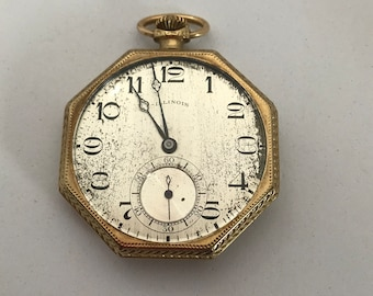 Vintage 1920's Illinois Pocket Watch Hexagon Shape 19 Jewels Size 12 Runs # 85