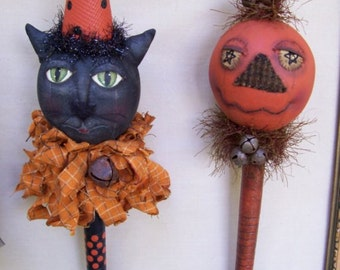 Miney Mo, A Primitive, Folk Art, CAT, Pumpkin, DOLL, Shaker, Bobbin Head, Pea Picker's, Pattern