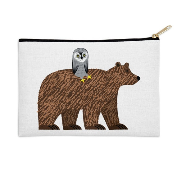 "The Owl and The Bear - pencil case - make up bag - zip pouch - 8.5"" x 6"" / 12.5"" x 8.5"""