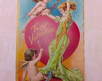 Charming Edwardian Valentine Postcard-Beautiful Lady with Cherubs