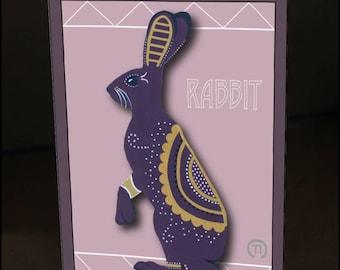 """Rabbit 4.25"""" x 6"""" Blank Greeting Card"""