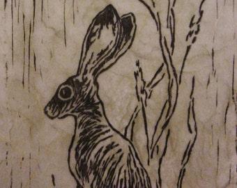 Jackrabbit Linocut Print