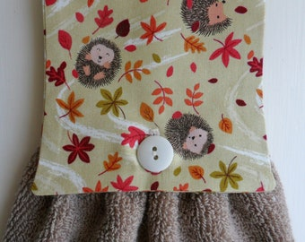 Handmade Hanging Hand Towel Light Taupe with Hedgehogs