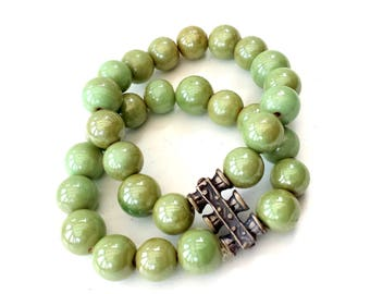 Green Aventurine Crystals with silver details, stretch bracelet