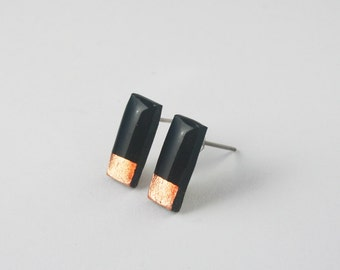 Tiny Black Rectangle Studs, Black Studs, Bar Stud Earrings Copper, Hypoallergenic Nickel Free Titanium Jewelry, Stocking Stuffer