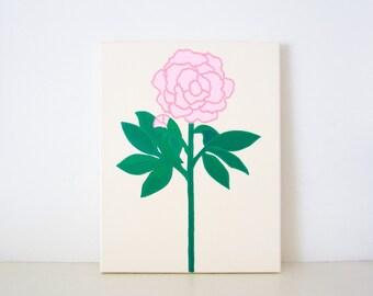 PEONY - Ivory & Pink PAINTING - Peony Painting - Flower Art - Pink Peony - Pink Peonies - Flower Painting - Flower Print - Peony Print