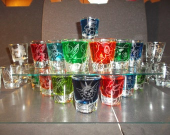 Pick-a-poke! Any pokemon etched shot glass (One shot glass)