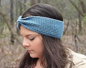 Crochet Headband, Crochet Earwarmers, Blue Headband, Blue Earwarmers, Blue Knit Headband, Winter Headband, Women's Headband, THE MCKENZIE