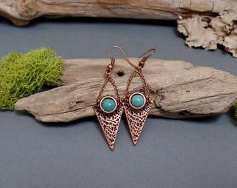 Bohemian Copper Earrings - Copper Turquoise Earrings - Boho Copper Earrings - Free US Shipping