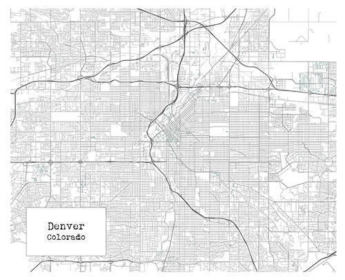 Denver colorado blueprint map poster art print item t1255 malvernweather Images