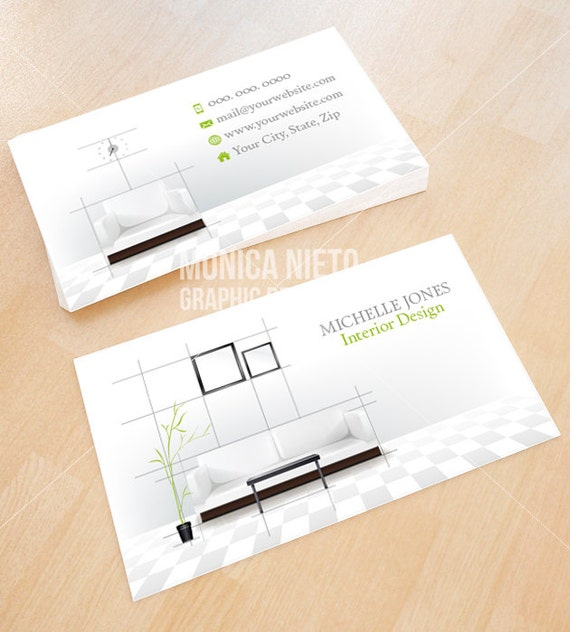 Captivating Custom Printable Interior Design Business Card Template/