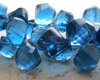 Montana Blue Quartz Faceted Twist Teardrop Beads 12 X 10mm - 8 inch Strand
