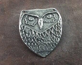 Handmade Owl Pendant, Handcrafted Pendant, Animal Pendant, Bird Pendant, Pewter Jewelry Pendant, Necklace Pendant, Hand Cast - No. 35PD