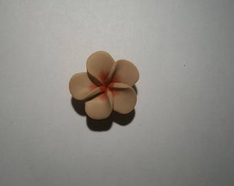 Flower polymer clay Brown and Red 25 mm