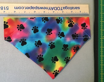 Personalized Over The Collar Dog Bandana/ Paw Tie-Dye