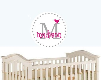 name wall decal girls wall sticker nursery wall decal Monogram Personalized  Vinyl Wall Decal perfect decoration for nursery or playroom