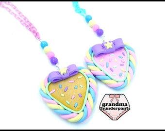 Marshmallow Cookie Heart Necklace, Pastel Heart, Fairy Kei, Decora kei, Decora Necklace, Kawaii, Stocking Stuffer, Pastel Marshmallow