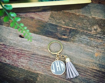 Personalized Monogram Key Ring - Keyring - Tassel Keychain - Tassel Key Ring - Monogram Tassel Keychain - gift - bridesmaid