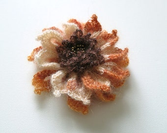 FREE US SHIPPING - Beige Light Cream Coral Orange Brown Color Acrylic Wool Yarn Fashion Crochet Flower Brooch Hat Hair Scarf Shawl Pin