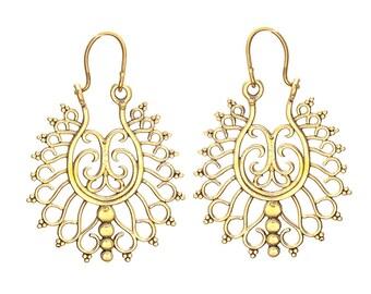 crescent earrings hammered brass earrings