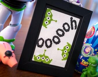 Aliens Cross Stitch / Toy Story Digital PDF Pattern / Woody & Buzz Lightyear Kid Cute Little Green Men