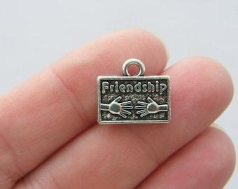 BULK 20 Friendship charms antique silver tone M189