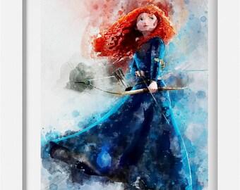 Disney Brave Merida Princess Pixar A4 Watercolour Poster