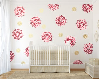 Vinyl wall decals - wall stickers - vinyl stickers - Rain Drop flower pattern - flower wallpaper - girl's room decor - Gold wallpaper
