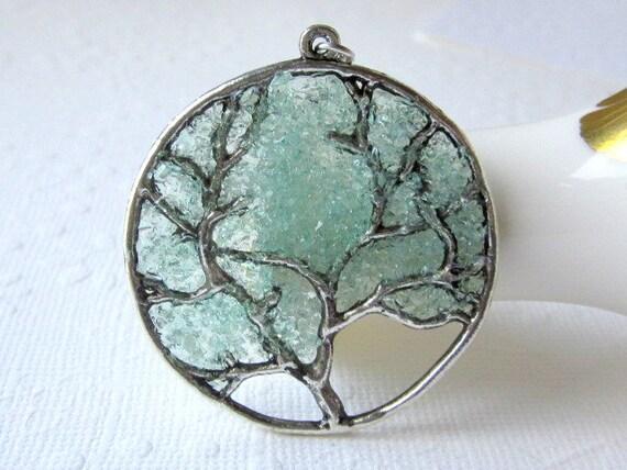 Aqua tree necklace aquamarine pendant large tree necklace aloadofball Image collections