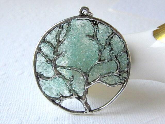 Aqua tree necklace aquamarine pendant large tree necklace zoom aloadofball Images