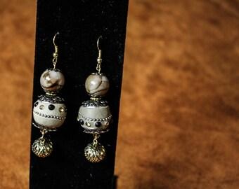 Imitation Jasper Gold Earrings