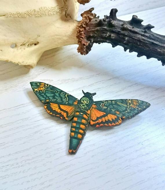 Deaths Head Hawk Moth Badge, Alternative Wedding Button Holes, Cool Gift Ideas, Birthday Present Ideas, Alternative Wedding Gift, Halloween