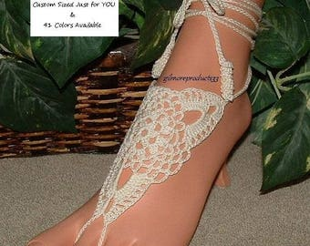 Wedding Barefoot Shoes FLATS Wedding Foot Jewelry Barefoot Sandals Wedding Ankle Toe Chain SIZE PAIR