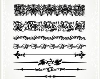 """Damask Baroque Borders // Clear stamps pack (4""""x7"""") FLONZ"""