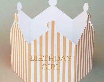 Birthday Crown Card, Crown Card, Birthday Card, Birthday Crown, Birthday Girl Crown.